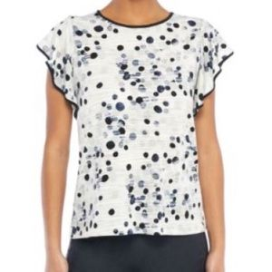 NWT The Limited Lilac Dot Ruffle Sleeve Top